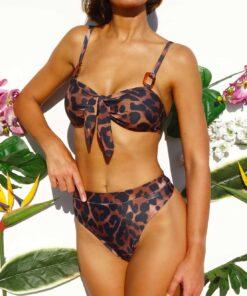 Bikini tiro alto animal print