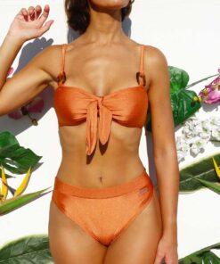 Bikini tiro alto cobre