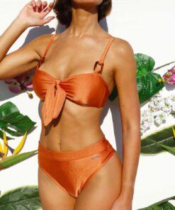 Bikini tiro alto satinada