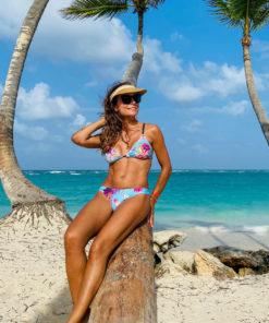 Bikini estampada con tiras de elastico rio exotic turquesa