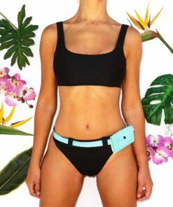 bikini con riñonera verde agua