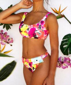 bikini estampada tiro alto